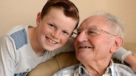 Joshua (age 11) and his granddad.